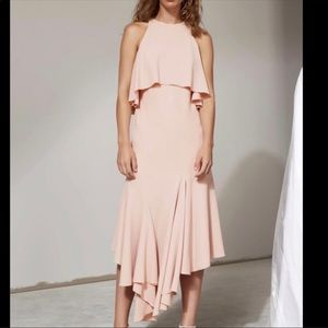 Cmeo Collective Divergent Midi Dress in Blush Pink